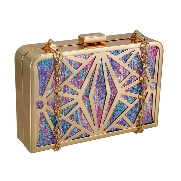Glittering Metallic Rainbow Stained Glass Look Womens Clutch Handbags