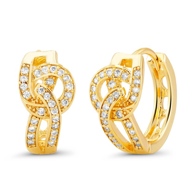 18kt Yellow Round Goldtone Cubic zirconia  Huggie Earrings