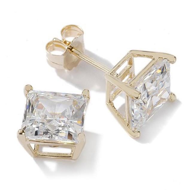 14K Gold Square Stud Earrings