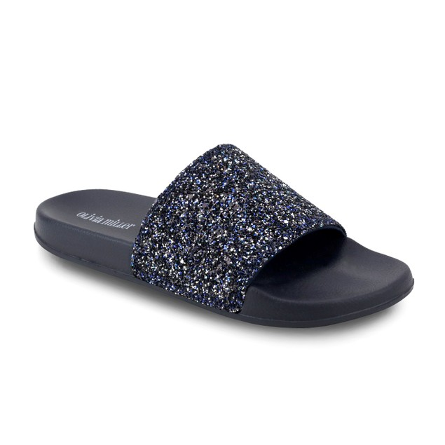 Olivia Miller 'Jacksonville' Multi Color Chunky Glitter Pool Slide Sandals