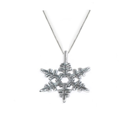 "0.925 Sterling Silver Rhodium Finished Plain Snowflake Pendant Charm W/ 18"" Cable Chain Set"