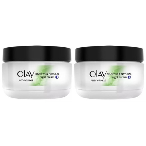 2-Pack Olay Anti-Wrinkle Sensitive and Natural Night Cream, 1.7 Oz