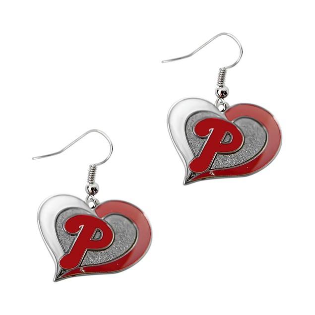 MLB Swirl Heart Shape Dangle Logo Earring Set Charm Gift
