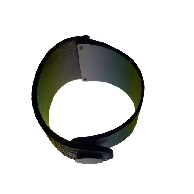 eli k Gunmetal & Black Leather Curved Texture Bracelet / Cuff / Bangle