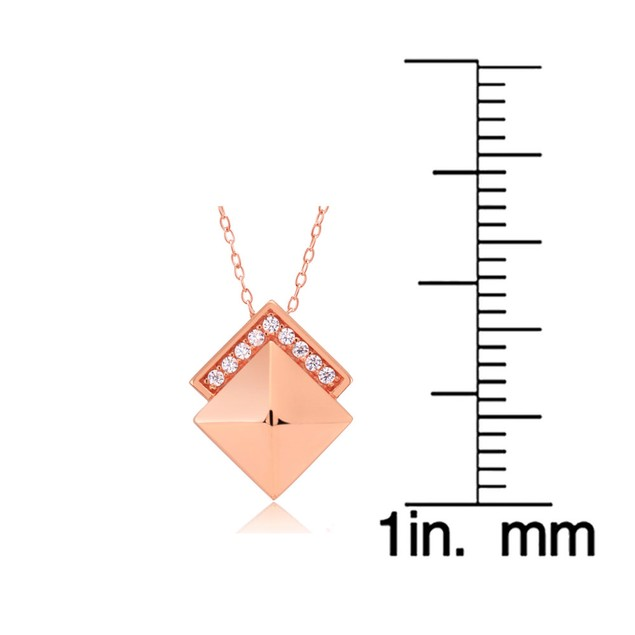Rose Gold Plated Sterling Silver Pyramid Necklace