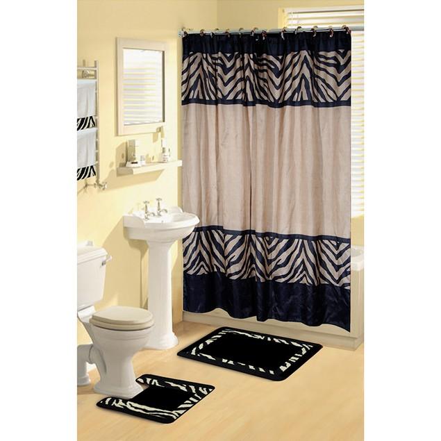 Boutique Deluxe Shower Curtain and Bath Rug Set: 17 Piece Bath Set