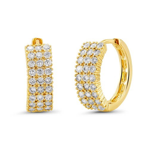 18kt Yellow Triple Lined Goldtone Cubic zirconia  Huggie Earrings