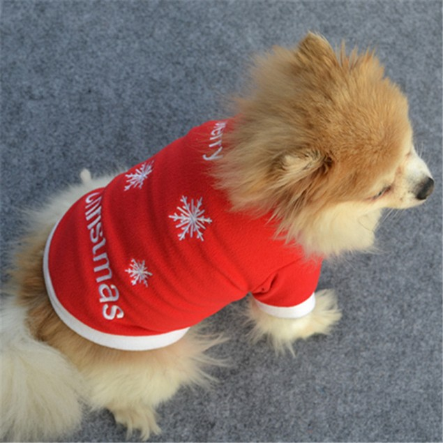 Christmas Pet Dog Winter Warm Pullover Embroidered Clothes