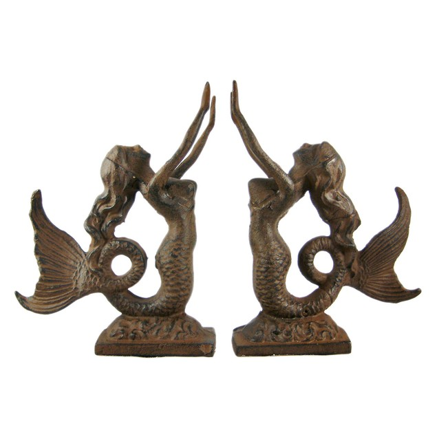 Cast Iron Mermaid Bookends Antiqued Finish Decorative Bookends