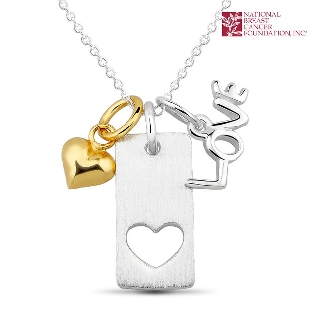 National Breast Cancer Foundation Inspirational Jewelry - Sterling Silver Square Heart Pendant