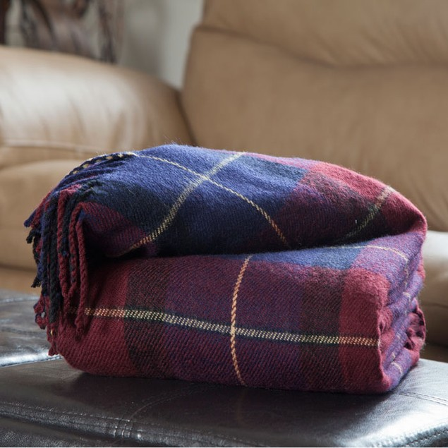 Lavish Home Cashmere-Like Throw - Blue/Red Plaid