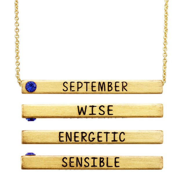 Gold Plated Personality Birthstone Bar Necklace