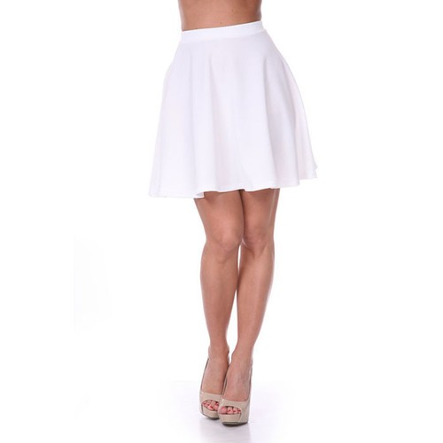 Solid White Fit & Flare Skater Skirt