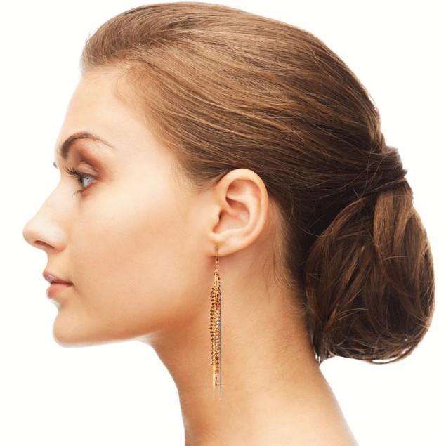 Mixed Metal Fringe Dangle Earrings, 5 Inches