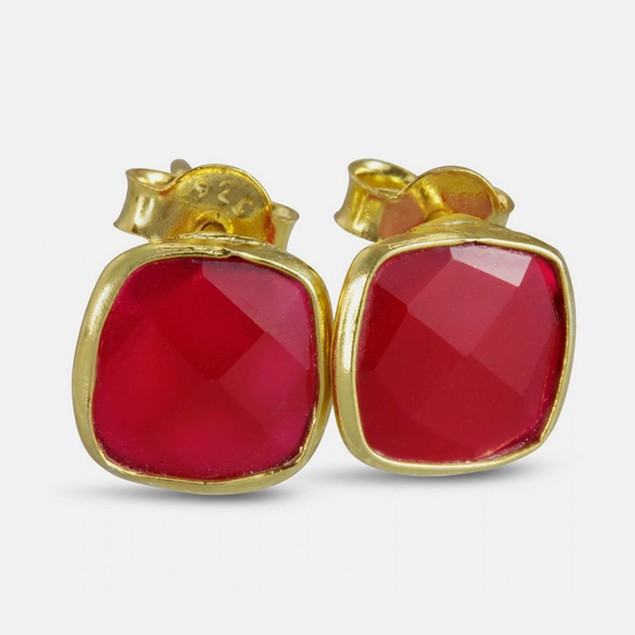 3ct Created Ruby Cushion Cut Earrings - Gold
