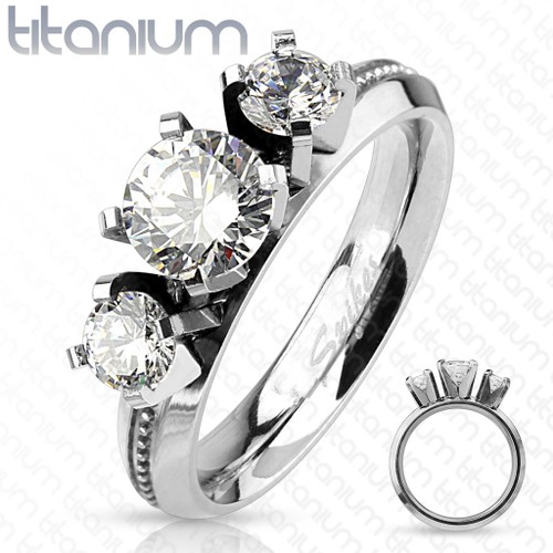 Triple Round Cut CZ with Milled Center Titanium Engagement Ring