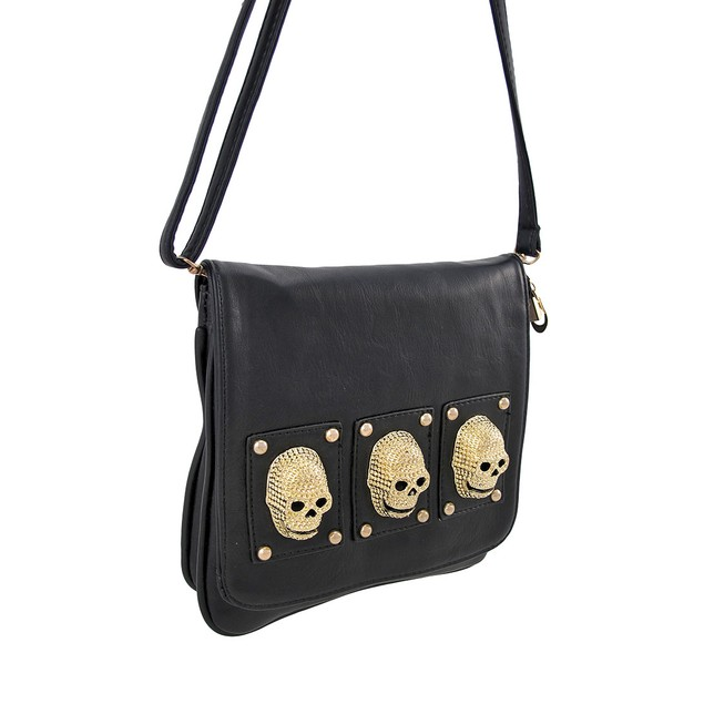 Square Black Clutch Purse With 3D Gold Skulls Womens Clutch Handbags