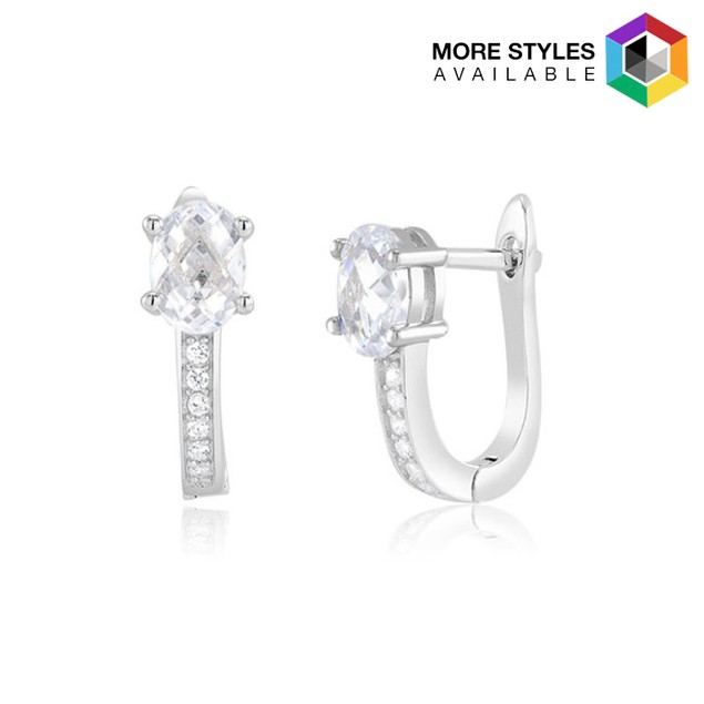 Sterling Silver Cubic Zirconia Huggie Earrings