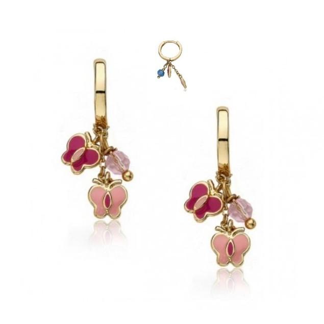 18KGP Dangling 2 Butterflies & a Bead Enameled Huggie Children's Earrings