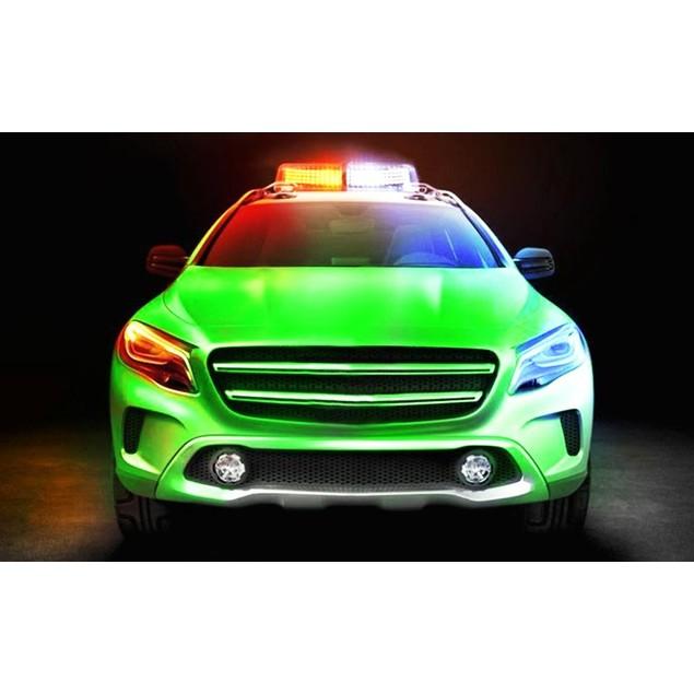 Zone Tech Amber/White Rooftop Emergency Warning LED Strobe Light Magnet