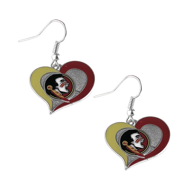 NCAA Swirl Heart Sparkle Dangle Logo Earring Set