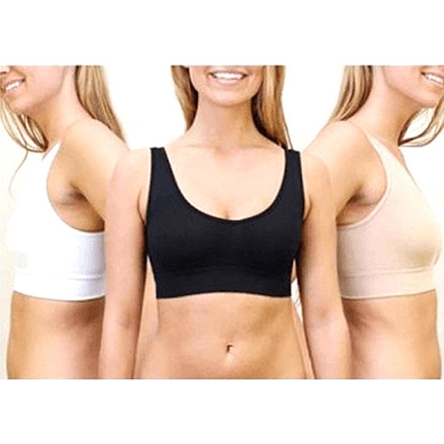 3-Pack Total Comfort Bras in Black, White & Beige (S-3X)