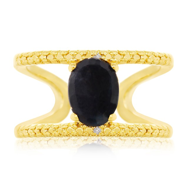 Gold Tone Sterling Silver 1.60ct Sapphire and Diamond Open Shank Ring