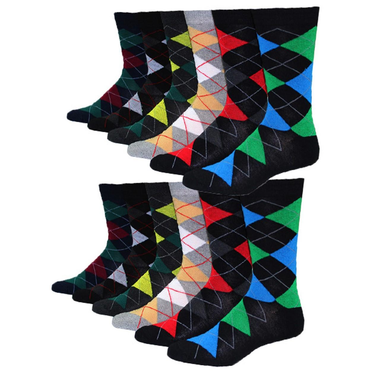 12-Pairs Men's Premium Cotton-Blend Colorful Patterned Dress Socks