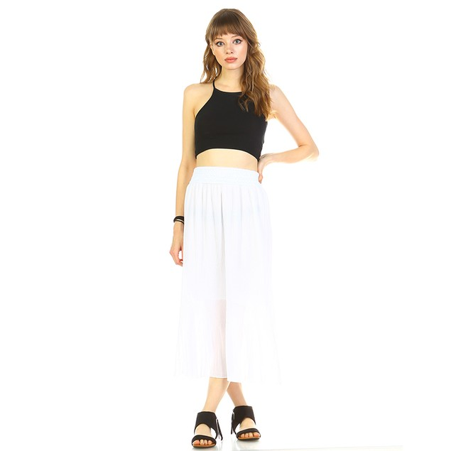 White Mark Universal Pleated Midi Skirt - 3 Colors