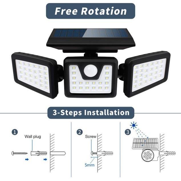 (2 Pack) 100-COB Solar 3 Heads Rotatable Split Motion Sensor Lamp