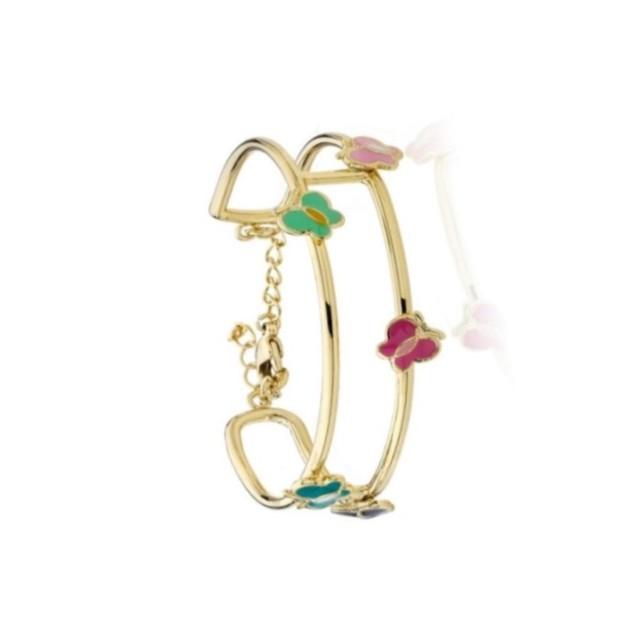 """18KGP Multi Color Butterflies Enameled Children's Bangle Bracelets. (5""""+ 2"""" inches Extention)"""