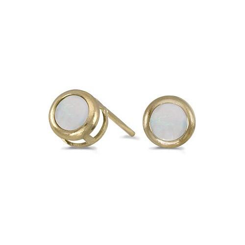 14k Yellow Gold Round Opal Bezel Stud Earrings