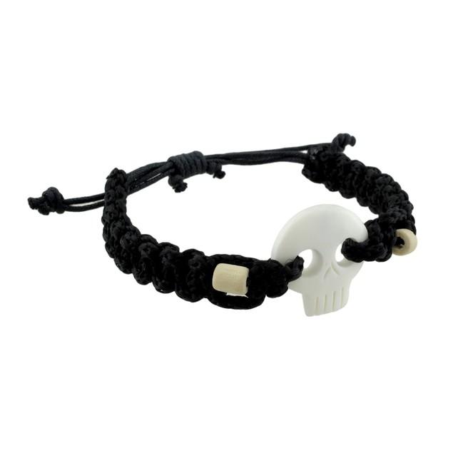 Braided Black Nylon Cord Adjustable White Skull Mens Pendant Necklaces
