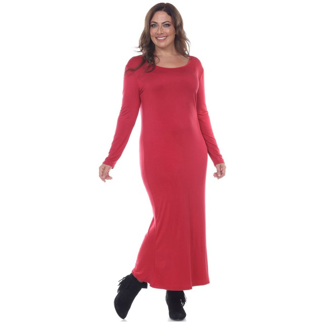 White Mark Plus Size Long Sleeve Maxi Dress