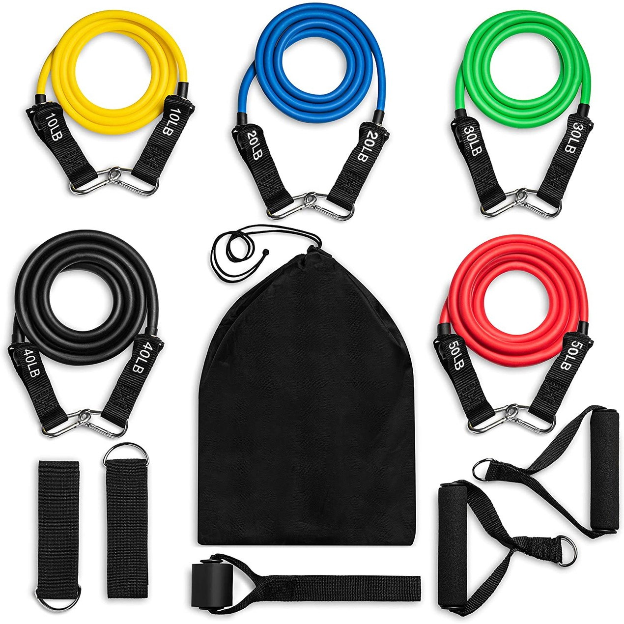 12-Piece ACECOM Exercise Resistance Bands Bundle