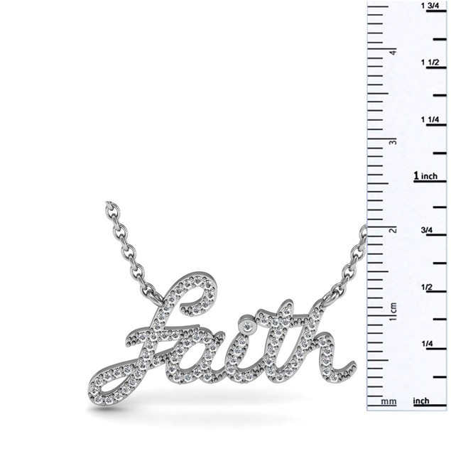 Sterling Silver 1/2 Carat Diamond Faith Necklace