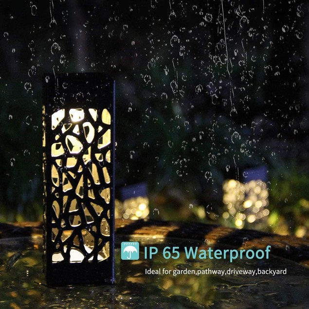 4-Pack LED Outdoor Waterproof Hollow Solar Garden Lawn lights