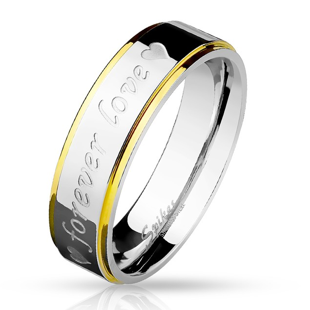 316L Stainless steel Gold IP Love Forever Ring