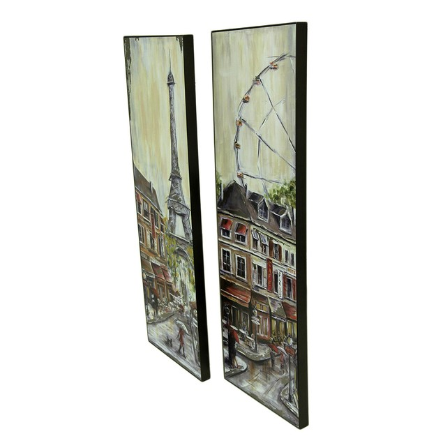 2 Pc. Foiled Eiffel Tower And Ferris Wheel Wall Prints