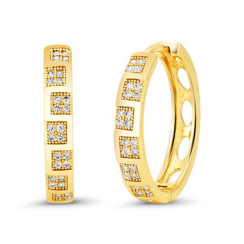 18kt Yellow Squared Drop Goldtone Cubic zirconia  Huggie Earrings