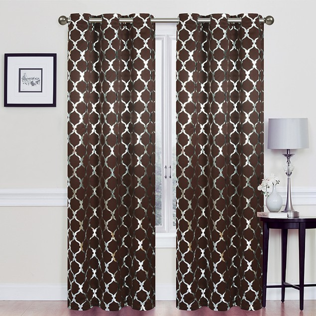 "76"" X 84"" Heavy Double-Layered Blackout Lattic Panel Pair with Foil"