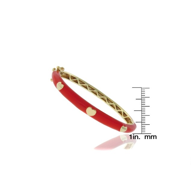 18K Gold Plated Red Enameled Heart Children's Bangle Bracelets