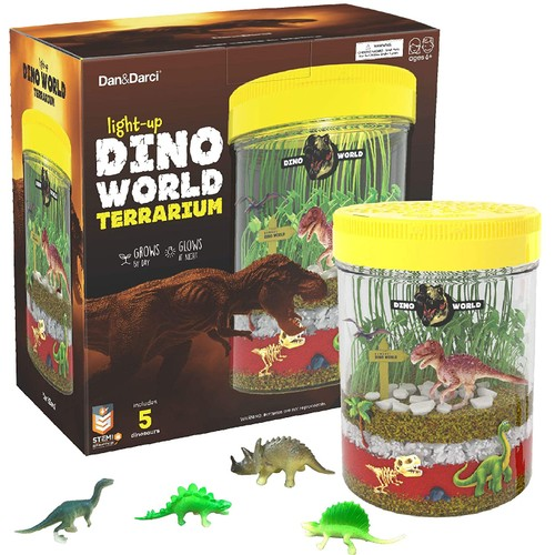 Light-up Dino World Terrarium Kit for Kids - Create Your Own Customized Mini Dinosaur Garden in a Jar That Glows at Night