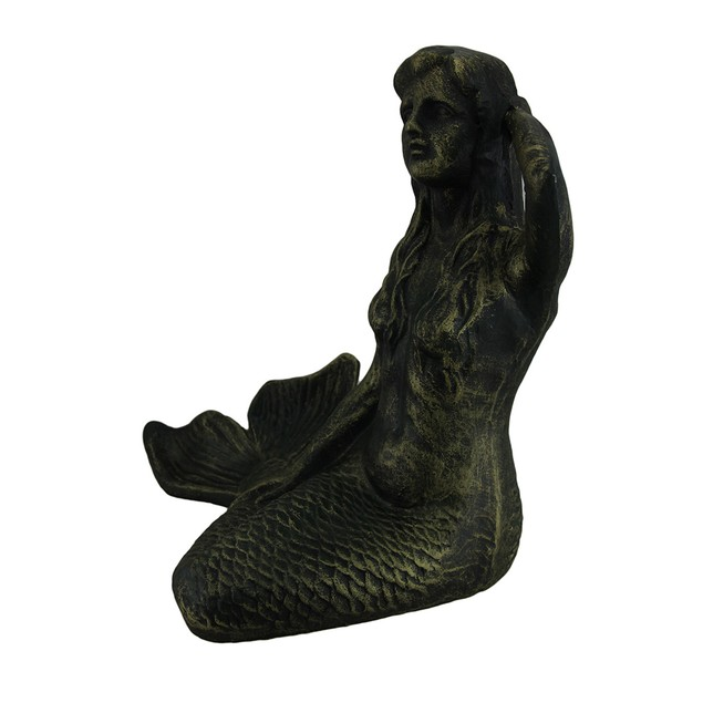 Deep Verdigris Green Cast Iron Sitting Mermaid Statues