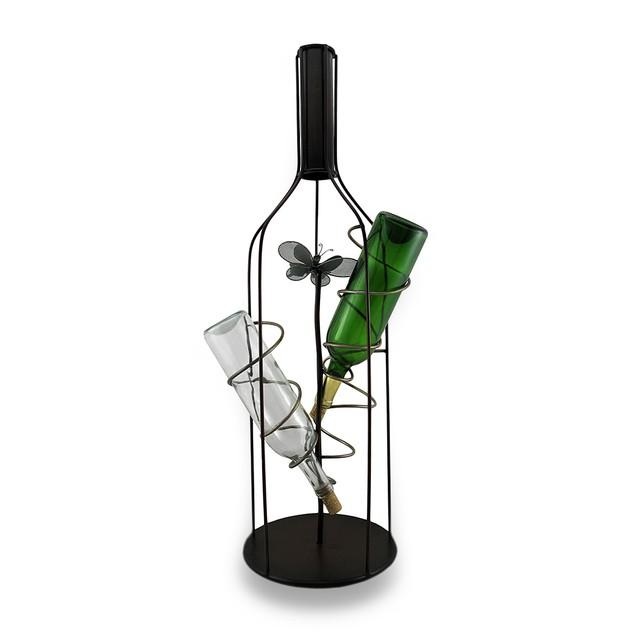 Wine Bottle Shaped Holder 3 Bottle Wine Display Tabletop Wine Racks