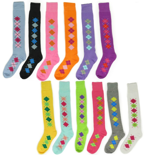 Women's Knee High Argyle Cotton Socks in Multiple Colors