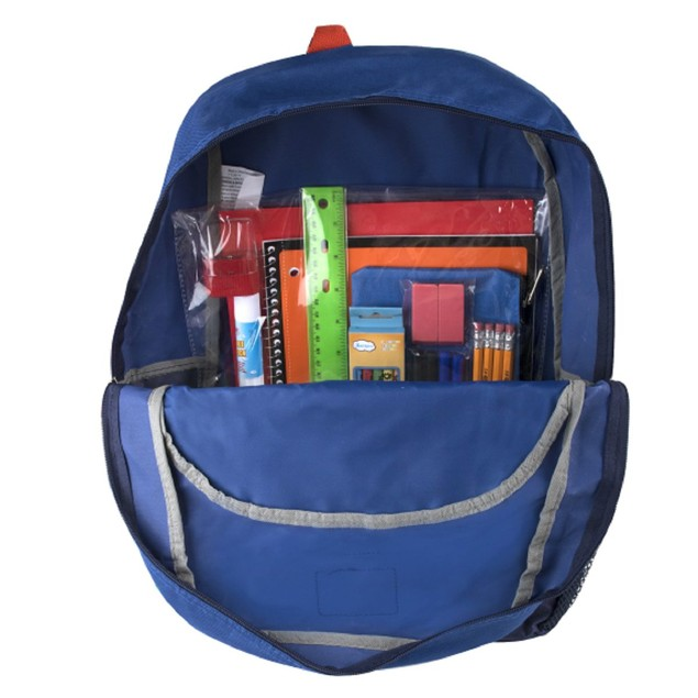 Preassembled 17 Inch Bungee Backpack & 12 Piece School Supply Kit