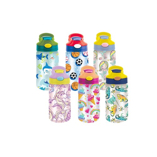 3 Pack Kids Assorted Water Bottles With Auto Straw- Bpa Free