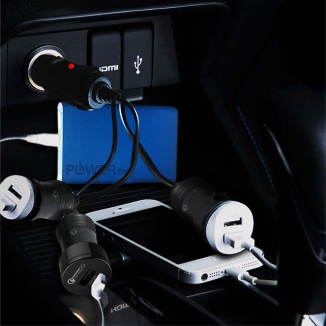 Zone Tech 3 Socket Cigarette Lighter Power Adapter USB Car Charger Phones