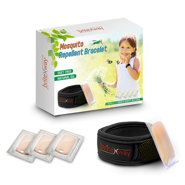 Mosquito Repellent Bracelet - All Natural Repeller Wrist Bands - 4 Refills